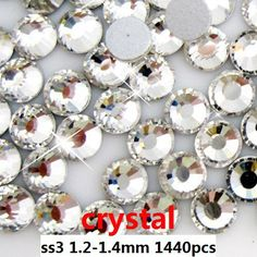 Non Hotfix Crystal Rhinestones For Nail Art Decoration 1440pcs ss3 1.3-1.5mm Crystal Clear Color Round Strass Stones Diy Garment * Want additional info? Click on the image.