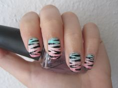 Zebra nails on top of gradient Nail art