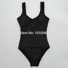 Black Swimsuit women high cut one piece swimwear women backless bodysuit bather bathing suit