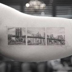 Brooklyn bridge tattoo (IG photo by New York Tattoo, Nyc Tattoo, Wild Tattoo, Tattoo Ink, Armband Tattoo, Sleeve Tattoos, Plane Tattoo, Pretty Tattoos, Beautiful Tattoos
