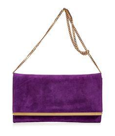 Emilio Pucci  Purple Suede Clutch with Shoulder Strap