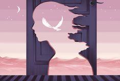 Illustration of a girl imagining bird, by Jasu Hu