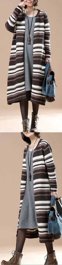 Chocolate striped women long sweaters oversized knit cardigans