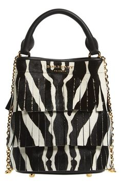 59e699a15140 Burberry Fringe Zebra Print Genuine Calf Hair Bucket Bag available at   Nordstrom Animal Print Purses