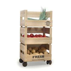 Wooden Trolley 3 Tier Kitchen Fresh Vegetable Fruit Storage Rack Cart with Wheels
