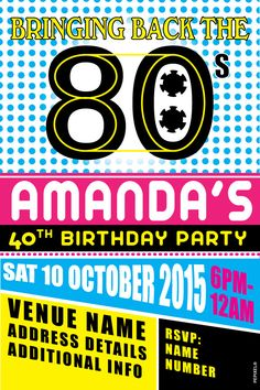 36 best 80s party invites images on pinterest 90s party