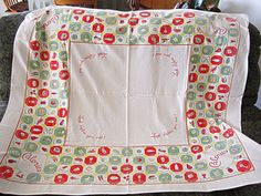 Retro Tablecloth Calories Food Pictures Kitsch Look by COBAYLEY