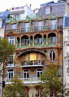 Paris Photography, Parisian Art Nouveau Building. Art Nouveau Photo, Art Nouveau Home Decor, Architect Lavirott Ceramic Bigot. French Decor by seardig
