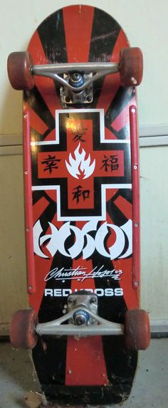 """Christian Hosoi model skateboard from Black Label. Part of the """"Red Kross"""" series. This is one that I setup and skated."""