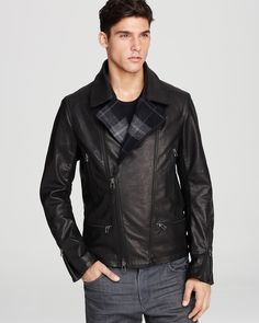 Edun Leather Moto Plaid Trim Jacket - Men's - Bloomingdale's