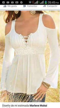5f610589995c6 PEGGYNCO Womens White Sexy Lace Up Cold Shoulder Flare Blouse Size S    Check this awesome product by going to the link at the image.