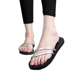 Scheppend Women's Beach Flat Slides PU Flip Flops Sandals *** Continue to the product at the image link.