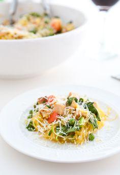 Spaghetti Squash Chicken Pasta by EclecticRecipes.com #recipe