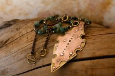 Nibbled Leaf Necklace in Recycled Copper Brass by FullSpiral,