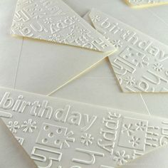 "embossed envelope flaps using the birthday words embossing folder ... like how she placed ""birthday"" perfectly at the upper left ..."