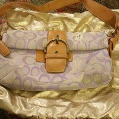 Small Coach Handbag Purple and White w/ Shoulder Strap Coach Bags Mini Bags