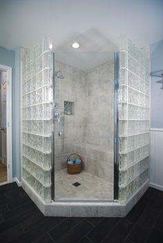 Glass blocks surround this shower in semi-privacy. #bathroom #shower