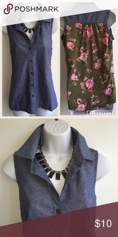 NWT super cute top denim in front flowery in back Bust size is 40 inches, and it is 26 inches long 100% polyester. Firm. French Laundry Tops Blouses