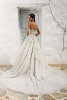 Justin Alexander Beaded Sweetheart Bodice Ball Gown with Cascading English Net Skirt