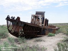 Shipwreck on what used to be part of the bottom of the Aral sea.