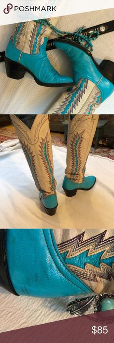 """Cowboy boots women's vintage sz 6.5 - 7 SALE $70 Vintage turquoise and cream cowboy boots from famous Cutter Bills western store in Texas (think """"Dallas"""" and """"Urban Cowboy"""")High end leather and details. Beautiful ! Minor scuffing and soiling, see photos. From 1970's -'80's! 19"""" H. Cutter Bill's Shoes Heeled Boots"""