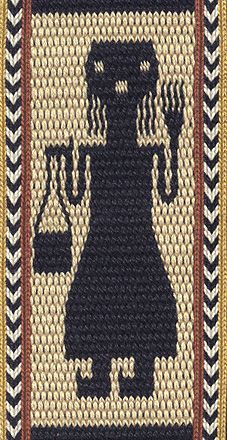 Double-faced tablet-woven band featuring designs inspired by African textiles including silk curtains from Ethiopia, cut-pile raffia cloth from Congo, a beaded apron from Botswana, and quilted horse armor from Cameroun Inkle Weaving, Inkle Loom, Card Weaving, Tablet Weaving Patterns, Weaving Designs, Peruvian Textiles, Textile Museum, African Textiles, Tapestry
