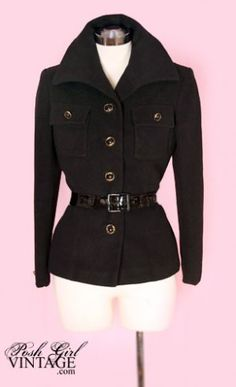 """$249 """"Here is one gorgeous & hard to find vintage coat jacket...luxurious pure jet black cashmere. Circa 60's. It has a chic almost military influenced style. We show it with a belt that is not included. Looks great with or without one. Very well made designer quality. Fully lined pockets are lined too. Gold and black button. A classic that will never go out of fashion!"""""""