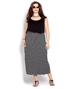 Stripes are in and you will be too with this gorgeous sleeveless dress. Long, plus size dress with contrast top, striped skirt and crew neckline. 54 inch length. Have fun in the sun with this one!
