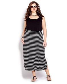 Les rayures sont à la mode et vous adorerez les porter avec cette superbe robe sans manches. Robe longue tailles plus avec haut uni, jupe rayée et encolure ronde. Longueur de 54 pouces. Voilà une robe qui annonce le soleil !