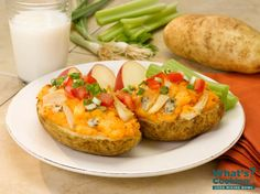 Potato Skins with Buffalo Chicken #veggies #protein #dairy #MyPlate #WhatsCooking