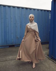 INAYAH | Minimal fashion and redefined style. Mocha Ruched Abaya Oatmeal Soft Crepe Hijab www.inayah.co