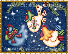 CC187 Funky Christmas Chickens 4 Painting E por CyndiCombsDesigns