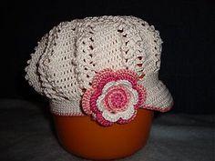Detské čiapky - Háčkovaná sieťkovaná bekovka - 90543