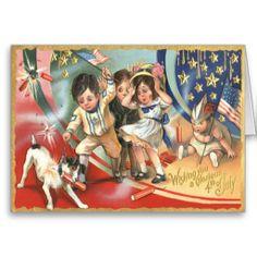 Children US Flag Dog Fireworks Firecracker Greeting Card