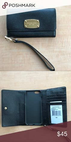 Michael Kors iPhone Leather Folio Brand NWT black leather MK Trish-fold folio. Fits iPhone 6/7. Michael Kors Accessories Phone Cases