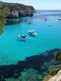 Minorca, Spain - Crystal clear <3  My mom's  father's family is from the beautiful island of Menorca, Spain.
