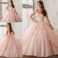 sweet-16-dresses-2017-long-sleeve-blush-pink