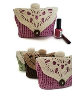 Knitted cosmetic bag pink makeup bag knitted by skeinofwool