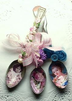 spoon art - beautiful.    portrait, memory, spoon, spoons, utensils, silver, silverware, cameos, cameo, shabby chic, vintage, antique, collage, altered art, mixed media
