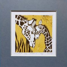 dodatki - plakaty, ilustracje, obrazy - grafika-Linoryt Żyrafa - seria Safari
