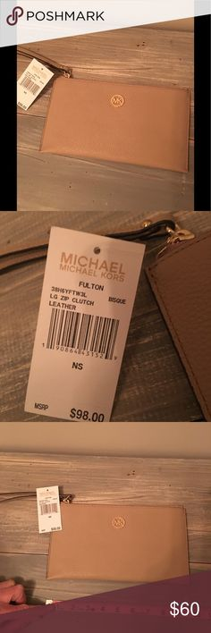 NWT Michael Kors Fulton LG Zip Clutch NWT Michael Kors leather clutch, measurements in pics! Color is Bisque, with gold hardware. Michael Kors Bags Clutches & Wristlets