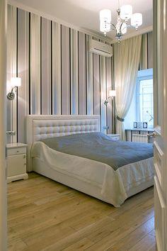 Светлая спальня с нетривиальным цветовым решением