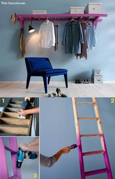 Great idea to use an old ladder for hanging clothes. Casa Retro, Old Ladder, Hanging Ladder, Laundry Room Shelves, Diy Home Decor, Room Decor, Diy Rangement, Hanging Clothes, Diy Clothes