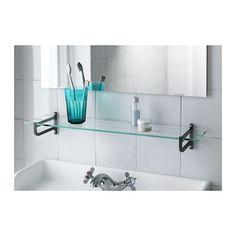 den här (hjälmaren - ikea) hyllan skulle passa under vår spegel i badrummet. för att få undan lite från handfatet