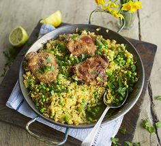Spring chicken paella. Throw a new spin on the classic Spanish rice one-pot by adding fresh, green broad beans, dill, mint and parsley