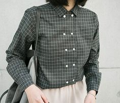 plaid Double-breasted Turn-down collar long sleeve literary shirt blouse autumn