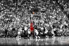 The last shot by MICHAEL JORDAN as the CHICAGO BULLS captain. Basketball sport.