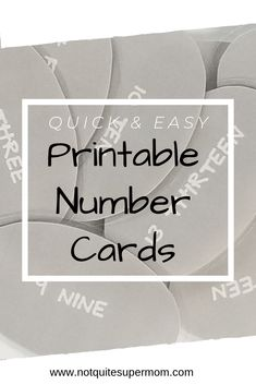 Quick and Easy Printable Number Cards - Not Quite Super Mom Creative Teaching, Creative Kids, Creative Things, Parenting Quotes, Parenting Advice, Guilt Quotes, Teaching Numbers, Teaching Math, Mom Schedule