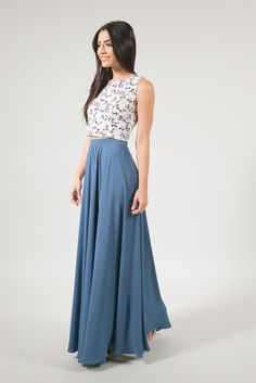 Kelly Slate Blue Full Maxi Skirt Our Kelly maxi skirt is a designer inspired piece gorgeous flowy silhouette. The small pleats throughout create full volume and movement, making the most playful skirt in your closet. This is our cust Diy Maxi Skirt, Maxi Skirt Outfits, Dress Skirt, Flowy Skirt, Beaded Prom Dress, Mermaid Prom Dresses, Bridesmaid Dresses, Bridesmaids, Long Blue Skirts