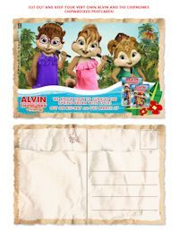 Printables: Alvin and the Chipmunks: Chipwrecked Activity Sheets, Postcards, Easter Cards  Posted by Connie - March 30, 2012 - Easter, Party Supplies & Ideas  1  Celebrate the newly released  Alvin and the Chipmunks: Chipwrecked DVD or Blu-ray  with these fun and free downloadables and printables themed with your favorite Chipmunks ready for a tropical vacation.  Send cards or print fun activities  - enjoy!